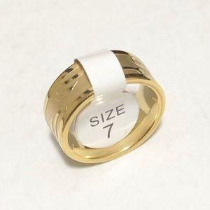 Men's Gold Toned Fishing Hook Ring, Size 7